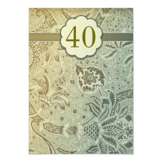 40 invitations vertes vintages d'anniversaire de carton d'invitation  12,7 cm x 17,78 cm