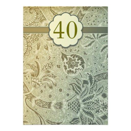 40 invitations vertes vintages d'anniversaire de m