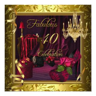 40 roses roses rouges fabuleux d'or de célébration carton d'invitation  13,33 cm