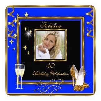 40 talons bleus fabuleux de Champagne d'or de Carton D'invitation 13,33 Cm
