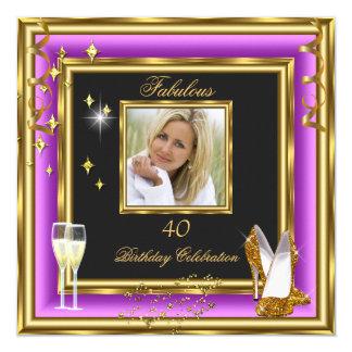 40 talons pourpres fabuleux de Champagne d'or de Carton D'invitation 13,33 Cm
