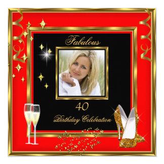 40 talons rouges fabuleux de Champagne d'or de Carton D'invitation 13,33 Cm