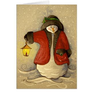 4910 bonhomme de neige et Noël de lanterne Carte De Vœux