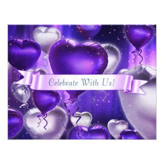 "4,25"" x 5,5"" coeur de ballon a customisé l'invitat invitation personnalisable"