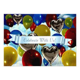 "4.5"" x 6.25"" Deep Balloons Customizable Invitation Personalized Invites"