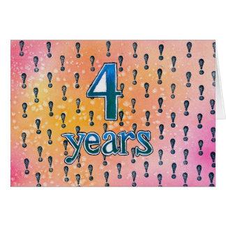 4 ans carte d'anniversaire/anniversaire de