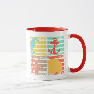 4 carrés de conception d'océan avec des rayures mug