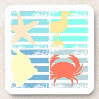 4 carrés de conception d'océan dessous-de-verre