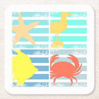 4 carrés de conception d'océan dessous-de-verre carré en papier