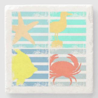 4 carrés de conception d'océan dessous-de-verre en pierre