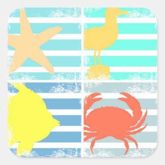 4 carrés de conception d'océan sticker carré