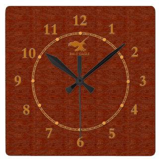 4 décoratifs en bois rouges une vente moderne horloge carrée