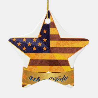 4 juillet bannière et étoile avec la texture de ornement étoile en céramique