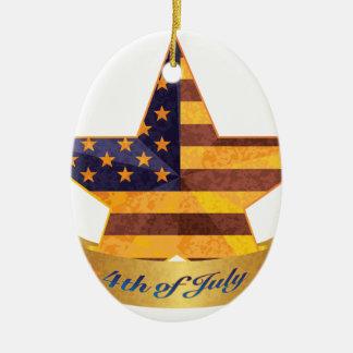 4 juillet bannière et étoile avec la texture de ornement ovale en céramique
