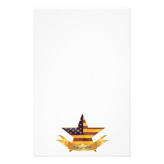 4 juillet bannière et étoile avec la texture de papeterie