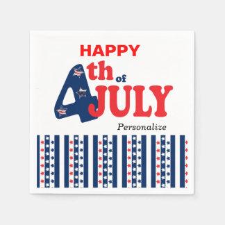 4 juillet bannière étoilée heureuse serviette jetable