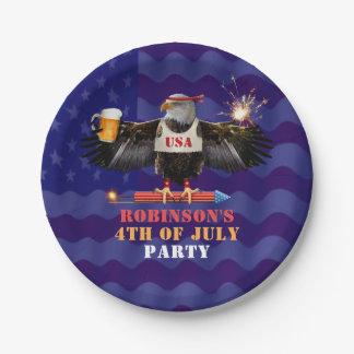 4 juillet bière patriotique et feux d'artifice des assiettes en papier