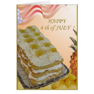 4 juillet carte avec le gâteau et le recepe