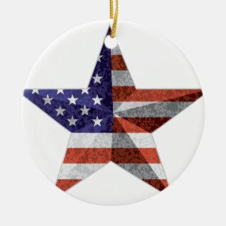 4 juillet contour d'étoile avec la texture de ornement rond en céramique