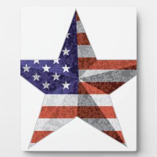 4 juillet contour d'étoile avec la texture de photo sur plaque