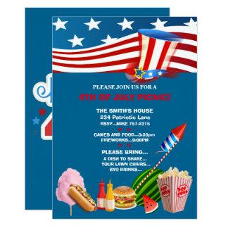 4 juillet invitations patriotiques de partie de