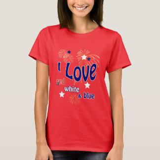 4 juillet j'aime le T-shirt rouge de rouge blanc