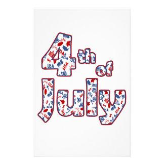 4 juillet Jour de la Déclaration d'Indépendance Papeterie