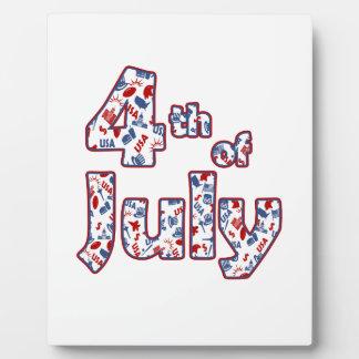 4 juillet Jour de la Déclaration d'Indépendance Plaque Photo