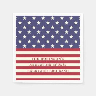 4 juillet les étoiles patriotiques de drapeau serviettes jetables
