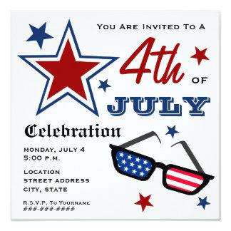 4 juillet lunettes de soleil patriotiques de carton d'invitation  13,33 cm