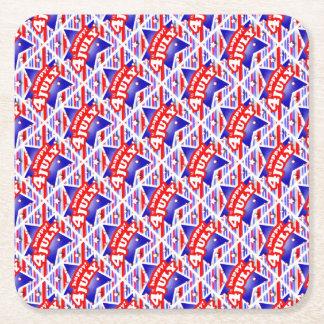 4 juillet motif heureux de thème dessous-de-verre carré en papier