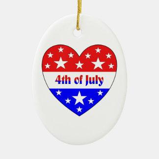 4 juillet ornement ovale en céramique