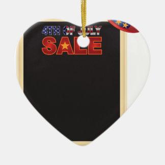 4 juillet panneau de signe de VENTE avec Ornement Cœur En Céramique