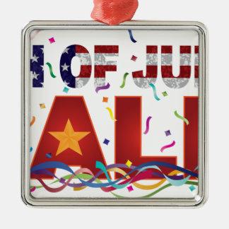 4 juillet texte de vente avec des confettis de ornement carré argenté