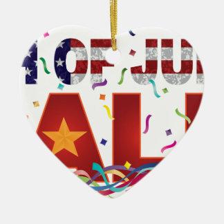 4 juillet texte de vente avec des confettis de ornement cœur en céramique