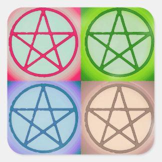 4 pentagones étoilés sticker carré