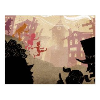 4 petits monstres - marchant par la ville carte postale