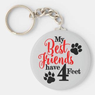 4 pieds de meilleurs amis porte-clé rond