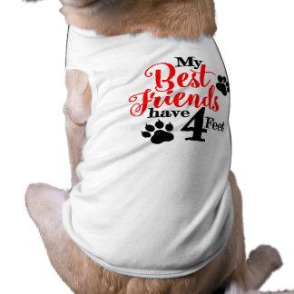 4 pieds de meilleurs amis t-shirt pour chien