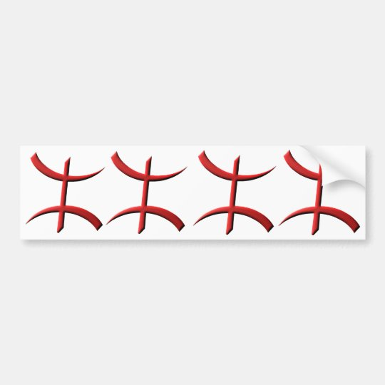 4 stickers carosserie voture aza berbère rouge