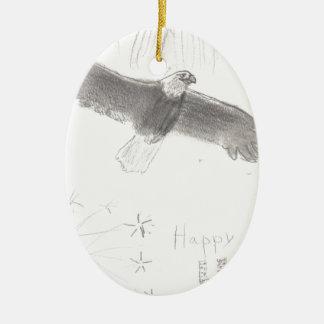 4' Th de l'aigle chauve de feux d'artifice de Ornement Ovale En Céramique