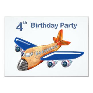 4ème anniversaire d'avion extraordinaire cartons d'invitation