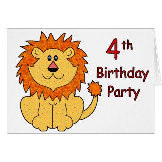 4ème anniversaire de lion mignon carte de vœux