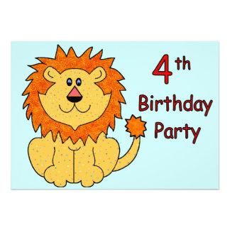 4ème anniversaire de lion mignon invitation personnalisable