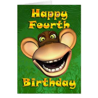 4ème banane heureuse de singe d'anniversaire cartes