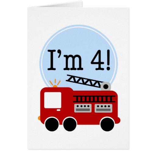 4ème Camion de pompiers d'anniversaire Carte De Vœux
