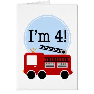 4ème Camion de pompiers d'anniversaire Cartes