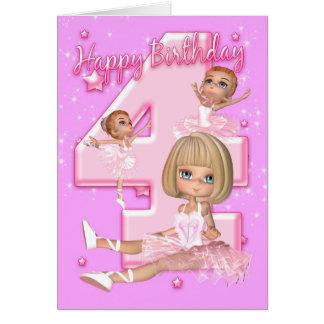 4ème Carte d'anniversaire avec la ballerine