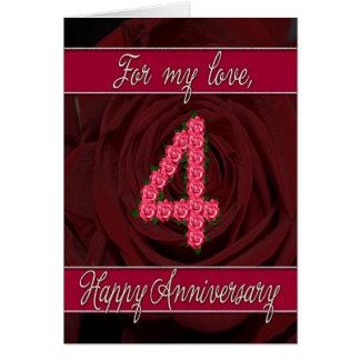 4ème carte d'anniversaire avec les roses et le