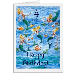 4ème carte d'anniversaire de sirènes